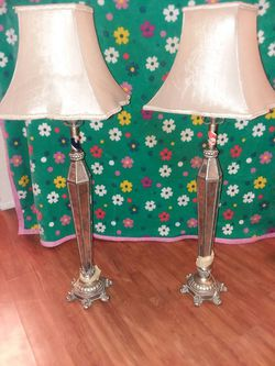 Antique Table Lamps Silver,Smoked Glass for Sale in Lakewood,  CO