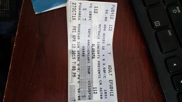 Alabama 50th anniversary tour- mohegan sun arena 8/29