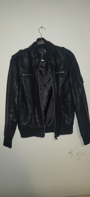 Black leather bomber jacket medium for Sale in Dallas, TX
