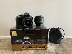 Nikon D3300 bundle w/ lenses and memory card for Sale in Glendale, AZ