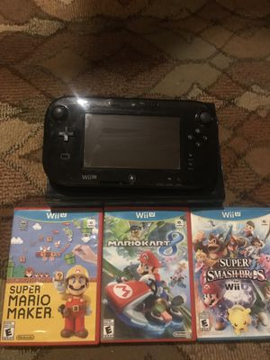 Wii U 32gb with Smash 4, Mario Maker, and Mario Kart 8 for Sale in Saint Joseph, MO