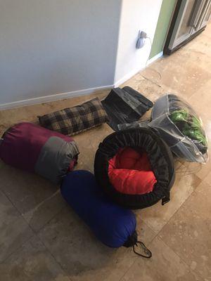 4 like new sleeping bags- 2 pillows-rain gaucho for Sale in Lake Elsinore, CA