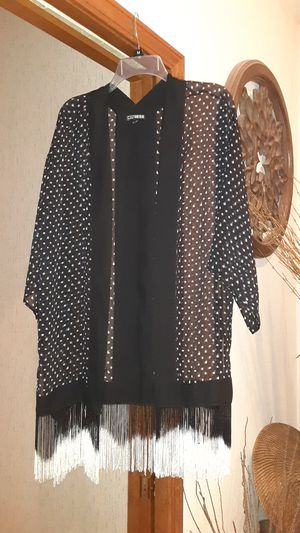 Black and white duster with fringe for Sale in Overland Park, KS