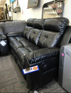 💲39 Down Payment 🍃Best Deal Kempten Black LED Reclining Sofa for Sale in Laurel, MD