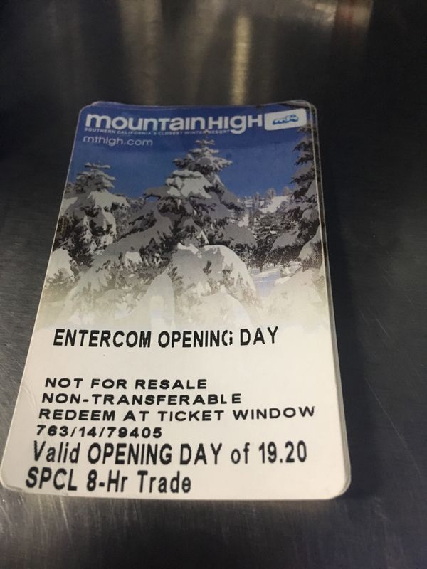 Mountain High Opening Day Lift Tickets