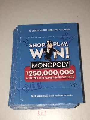 100 Monopoly Tickets Safeway Albertsons 2020 (1000+ available) for Sale in Santa Cruz, CA