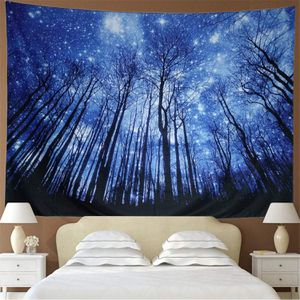 Hanging Starry Night Forest Galaxy Tapestry Wall Art for Sale in Hemet, CA