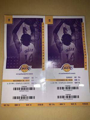 Lakers VS Kings Sec 216 row 12 tonight (Sunday) for Sale in Santa Monica, CA