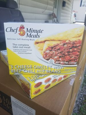 M.R.E. (Self Heating) Chef 5 Minute Meals: Cheese Omelet w/ Beef Chili for Sale in Williamsport, MD