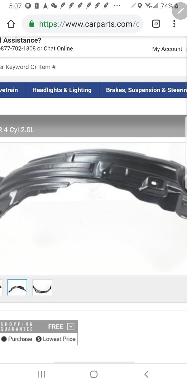 Fender liner for Evo X left hand side