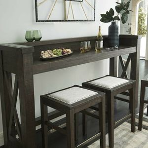 Hallishaw Dark Brown 4-Piece Counter Table and Bar Stools for Sale in Cedar Park, TX