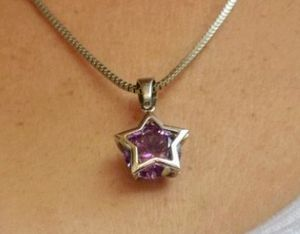 "Sterling silver & amethyst gem ""star"" pendant w/20in s.silver necklace for Sale in Glen Burnie, MD"