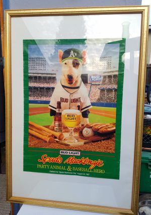 RARE 1987 Oakland A's Spuds Mackenzie Day Poster! Mounted in Vintage Glass & Wood Frame! - $150 OBO! for Sale in San Francisco, CA