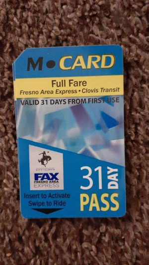 31 day Bus Pass for Sale in Fresno, CA