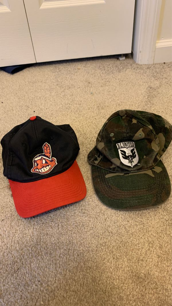 2000s Cleveland Indians hat and 1990 dc United rare camo hat