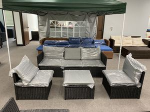 Brand New 5 Seaters Wicker Patio Furniture Set Sofa Ottoman Table Sectional for Sale in Fullerton, CA