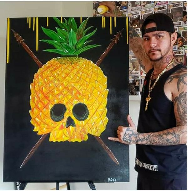 🍍💀💀Original hand painted acrylic canvas🍍💀🍍