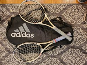PRINCE TRIPLE THREAT (TT) WARRIOR MP TUNGSTEN TENNIS RACKETS (x2) WITH 3-RACKET ADIDAS CASE -$150 for Sale in Los Angeles, CA