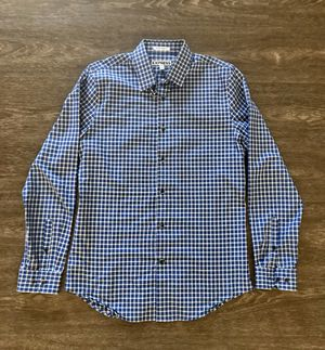 Express Brand Men's Royal Blue and Black Plaid Long Sleeved Buttoned Down Shirt for Sale in Rosemead, CA