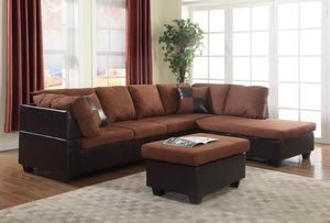 New! Chocolate Microfiber Sectional and Ottoman + FREE DELIVERY!! for Sale in Baltimore, MD