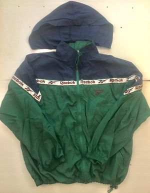 Reebok Classic Windbreaker Vintage Track Suit Jacket Sz XL Green & Blue Detachable hood Draw string at bottom of jacket In excellent c for Sale in Palo Alto, CA