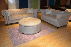 Fabric Chesterfield couch loveseat set for Sale in Baltimore, MD