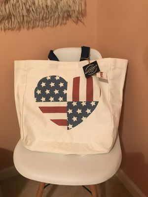 With tags American flag reusable shopping canvas tote bag for Sale in Houston, TX