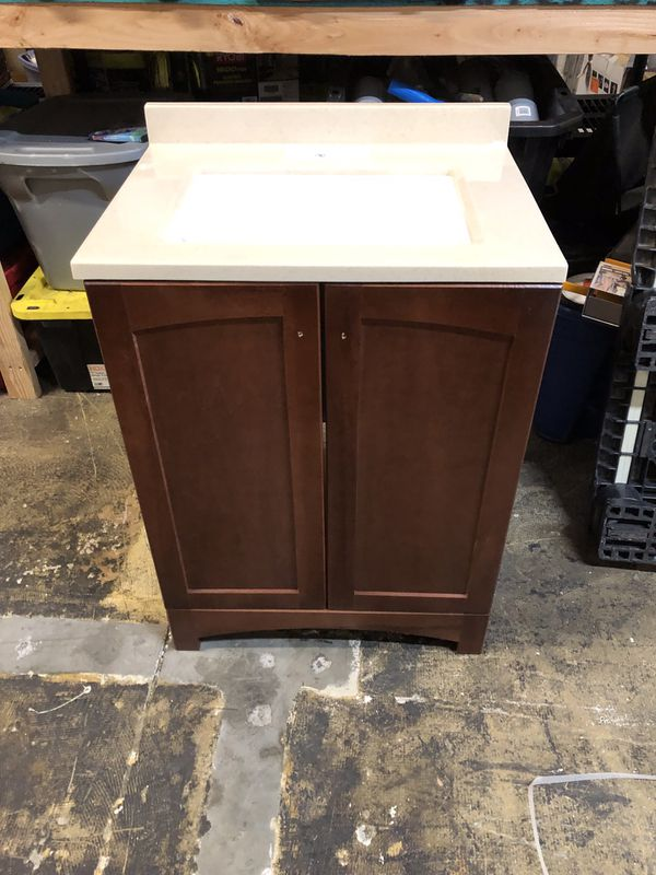 "Gorgeous 24"" vanity with top in beautiful Chestnut finish"