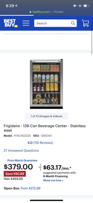 Frigidaire - 138-Can Beverage Center - Stainless steel, new in box for Sale in Lexington, KY