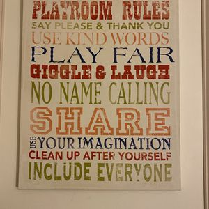 Playroom Rules Canvas Wall Art for Sale in Beverly Hills, CA