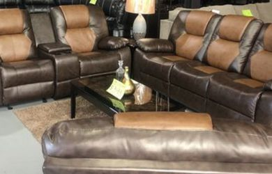 2-Tone Brown Reclining Leather 3 Piece Sofa Set for Sale in Atlanta,  GA