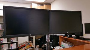 "Dual-armed stand and Two HP 24"" LED monitors on one stand with cables for Sale in Dallas, TX"