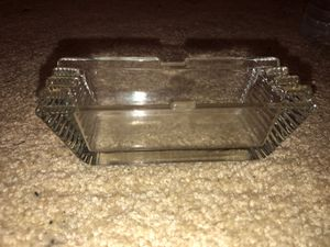 Antique Crystal Glass Ashtray with 3 Resting Spots on each Side for Sale in Plainfield, IL