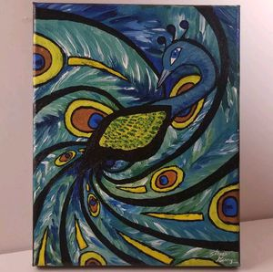"""Abstract Acrylic On Canvas 8x10 """"Fanning Peacock"""" Art Painting for Sale in Winter Park, FL"""