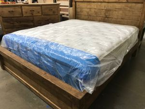 Solid Wood King Size Bed with Mattress Included for Sale in Los Angeles, CA
