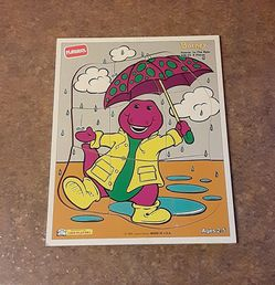 "Vintage Playskool ""Barney Dancin' In The Rain"" Solid Hardwood Frame-Tray Puzzle for Sale in Fox Lake,  IL"