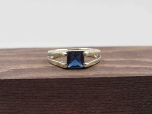 Size 6.5 Sterling Silver Rustic Blue Glass Band Ring Vintage Statement Engagement Wedding Promise Anniversary Bridal Cocktail Friendship for Sale in Lynnwood, WA