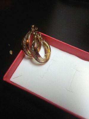 14K.STERLING SILVER GENUINE DIAMOND EARRINGS for Sale in Dundalk, MD