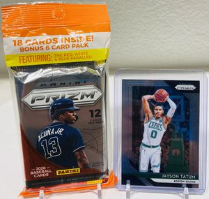 (1) Prizm Fat Pack 2020 Baseball & (1) Jayson Tatum Prizm NBA Card! Plus Bonus Cards! for Sale in Dallas, TX