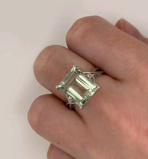 Sterling Silver Green Amethyst White Topaz Cocktail Ring for Sale in Wichita, KS