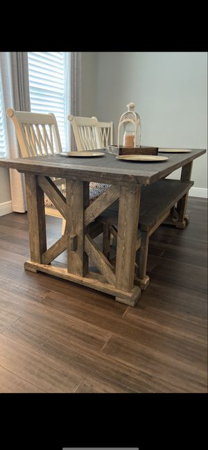 6' farmhouse table with matching bench for Sale in Orlando, FL