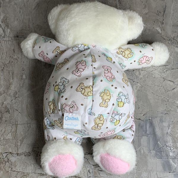 Vintage Carters Prestige Plush Rattle Bear Baby Lovie Pastel Pink White