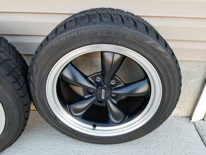 Set of 2 1999 - 2004 Mustang Matte Black Bullitt Wheels/Rims & Snow Tires for Sale in Denver, CO