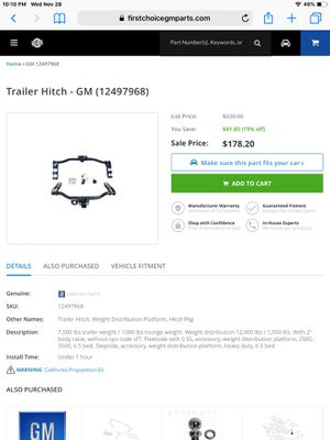 Chevy towing hitch for Sale in Phoenix, AZ