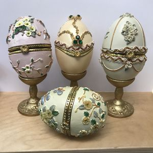 Set of Four Faberge Decorative Egg Jewelry Boxes with Henges and Gold Wooden Stands for Sale for sale  Burien, WA