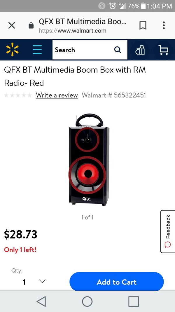 QFX168 MP3 Player Boombox Stereo Speaker W/ Radio