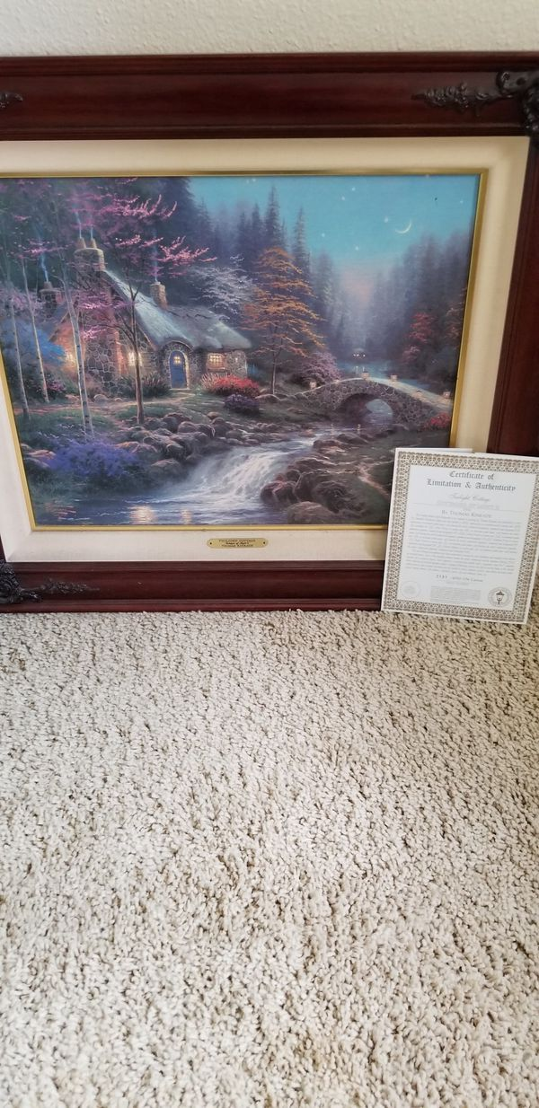 Thomas Kinkade Twilight Cottage Painting for Sale in Chino ...