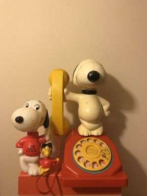 Vintage Snoopy Toy Phone Moves, Make Noise, Dial Turns & Snoopy-Woodstock Figures Both For $45 for Sale in Reedley, CA