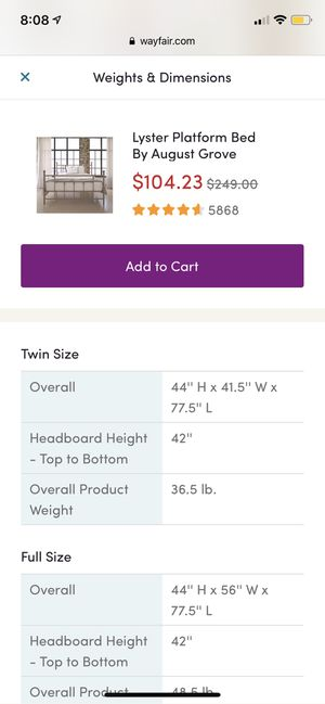 Wayfair Lyster platform twin bed white wrought iron for Sale in New York, NY