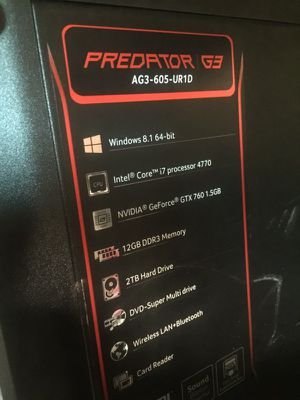 Gaming computer. Predator G3 for Sale in San Diego, CA